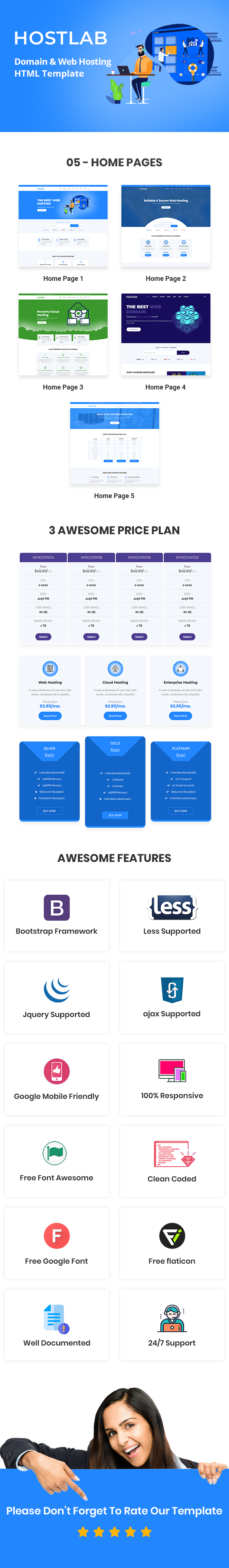 Hostlab - Domain & Web Hosting HTML Template